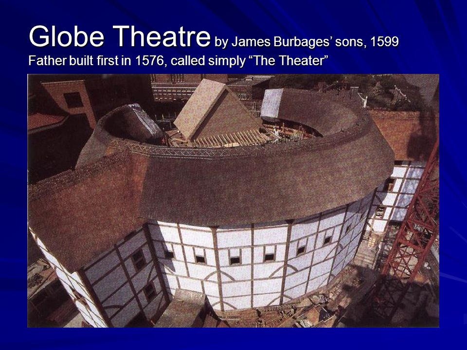 Globe Theatre by James Burbages' sons, 1599 Father built first in 1576, called simply The Theater