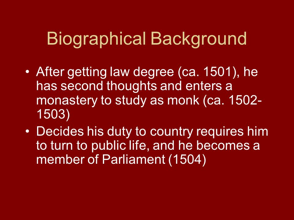 Biographical Background After getting law degree (ca.