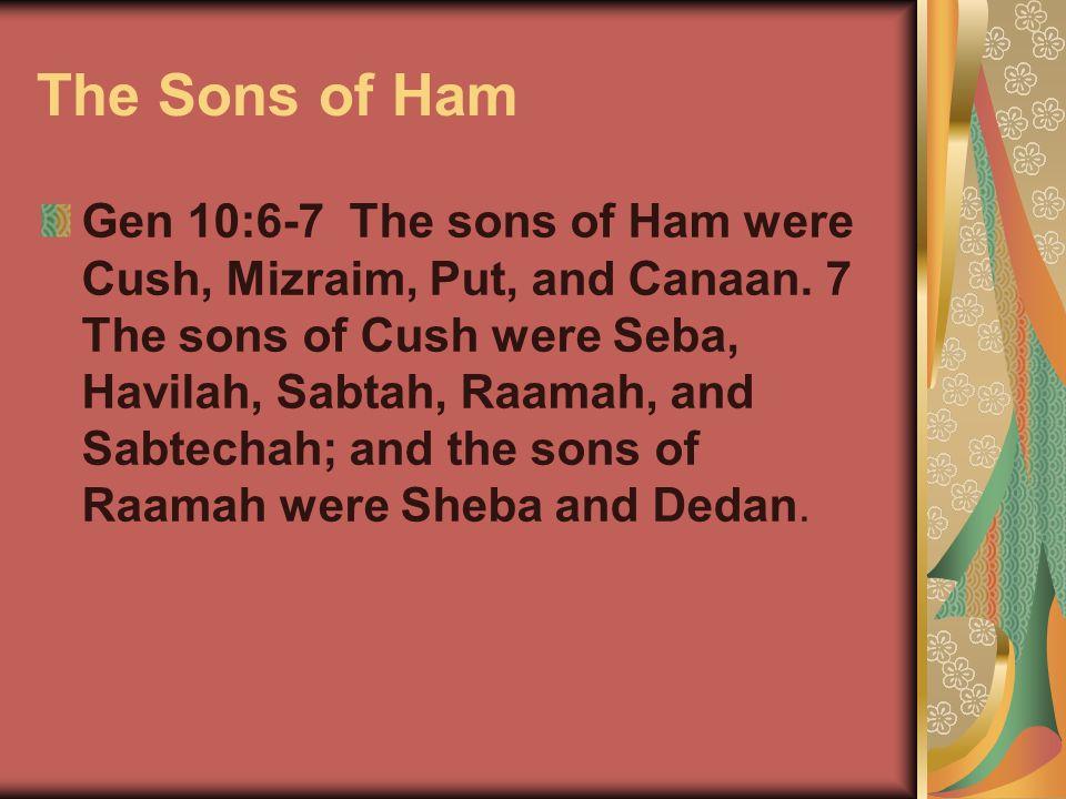 The Sons of Ham Gen 10:6-7 The sons of Ham were Cush, Mizraim, Put, and Canaan. 7 The sons of Cush were Seba, Havilah, Sabtah, Raamah, and Sabtechah;