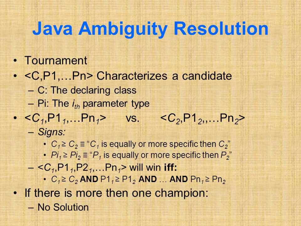 Java Ambiguity Resolution Tournament Characterizes a candidate –C: The declaring class –Pi: The i th parameter type vs.