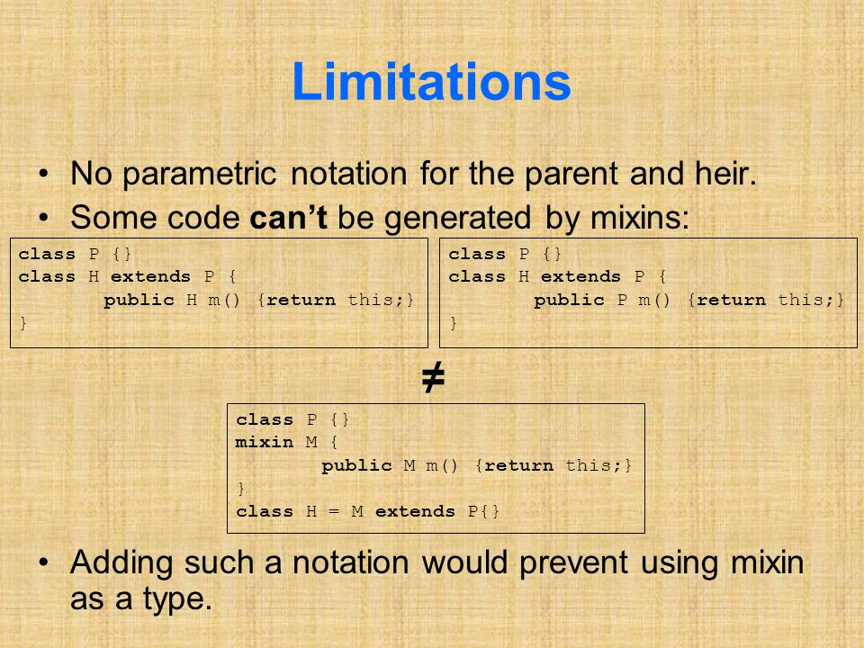 Limitations No parametric notation for the parent and heir.