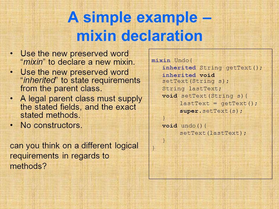 Illegal Overriding Mixin M, method m M, class C, method m C The names of m M and m C are identical.
