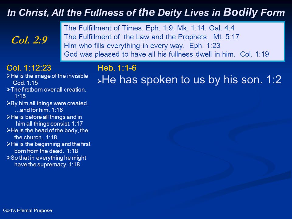 God's Eternal Purpose In Christ, All the Fullness of the Deity Lives in Bodily Form The Fulfillment of Times.