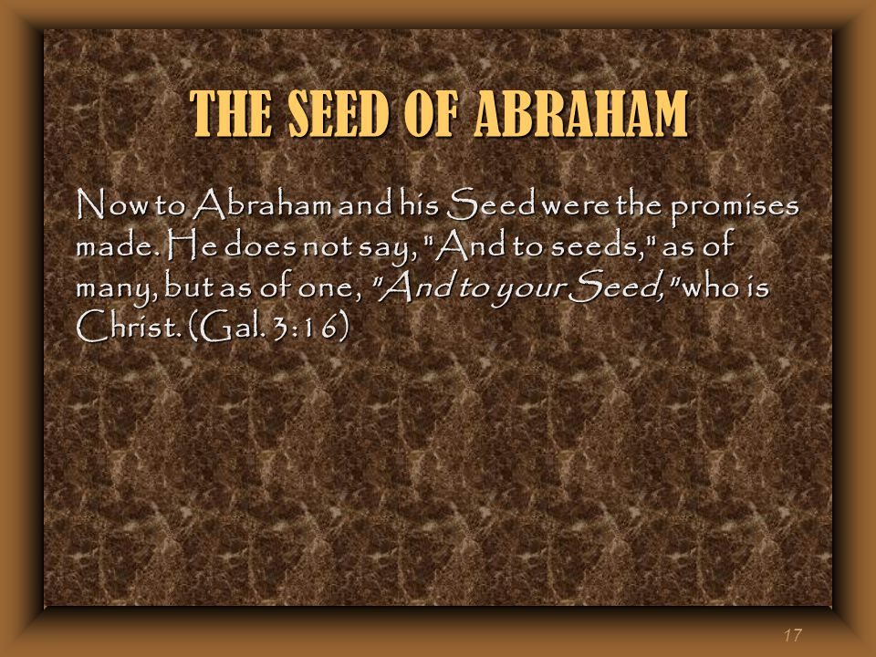 17 THE SEED OF ABRAHAM Now to Abraham and his Seed were the promises made.