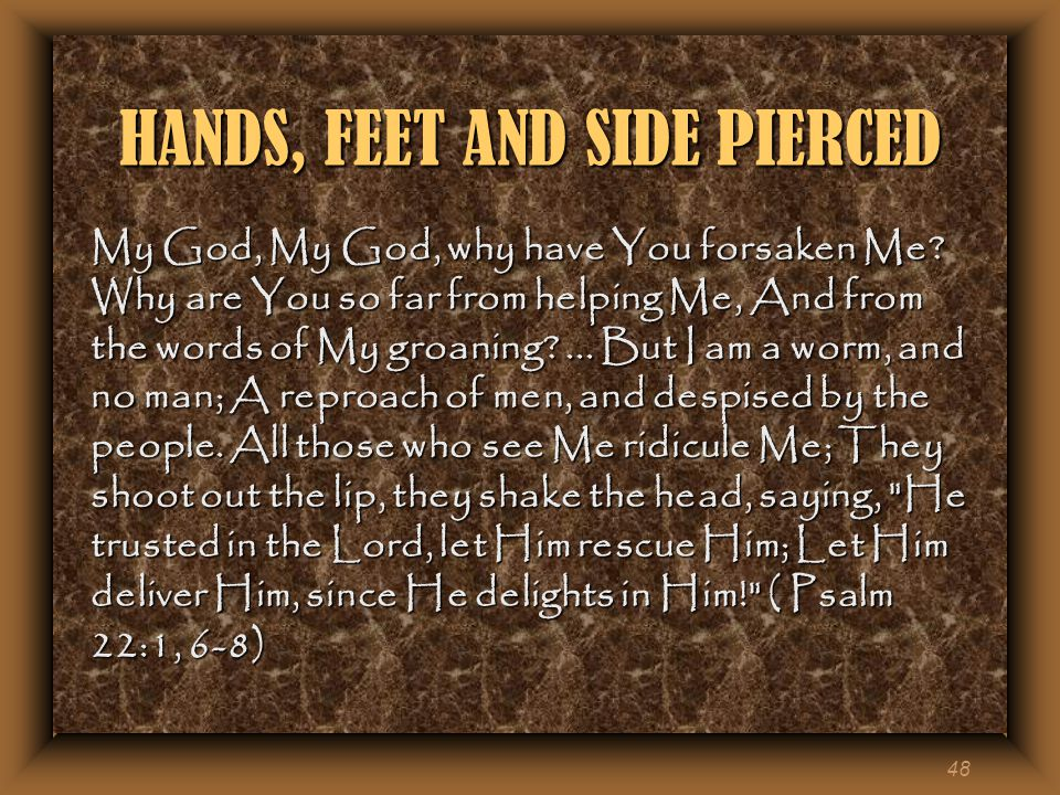 48 HANDS, FEET AND SIDE PIERCED My God, My God, why have You forsaken Me.