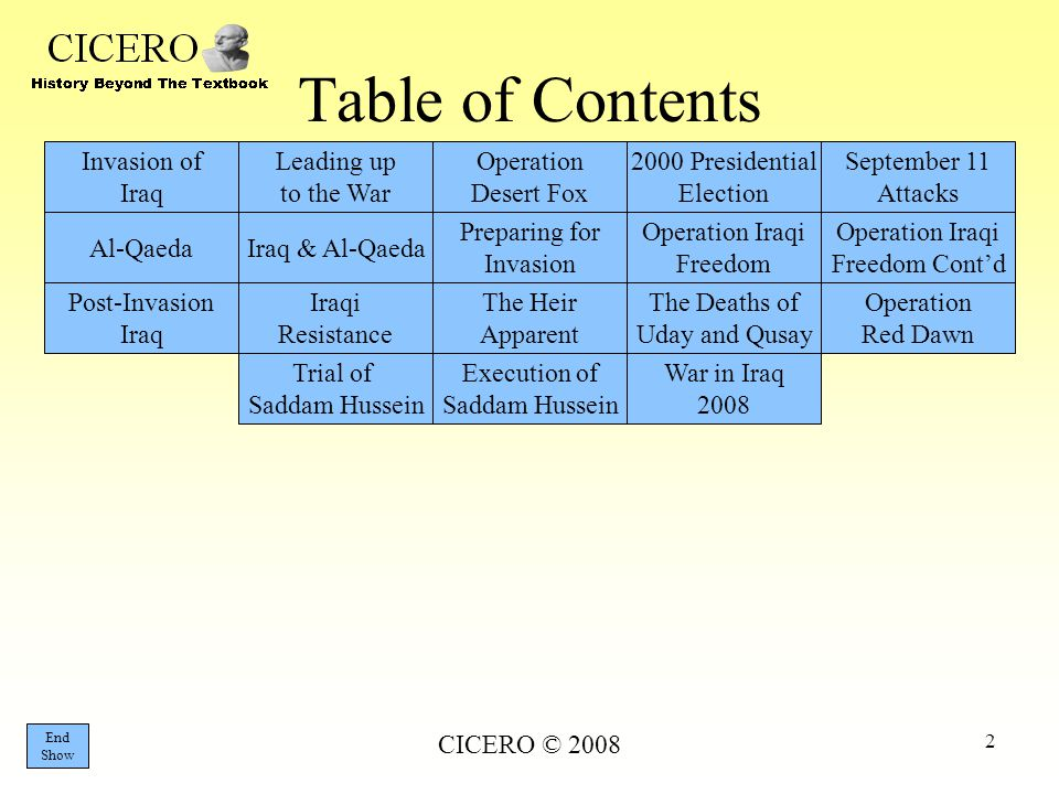 CICERO © 2008 2 Table of Contents Invasion of Iraq Leading up to the War Operation Desert Fox 2000 Presidential Election September 11 Attacks Al-Qaeda