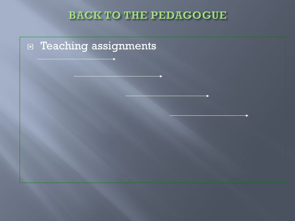  Teaching assignments