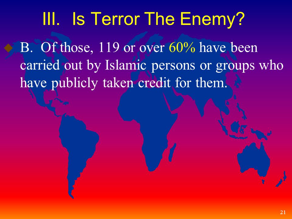21 III. Is Terror The Enemy. u B.