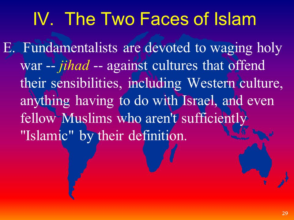 29 IV. The Two Faces of Islam E.