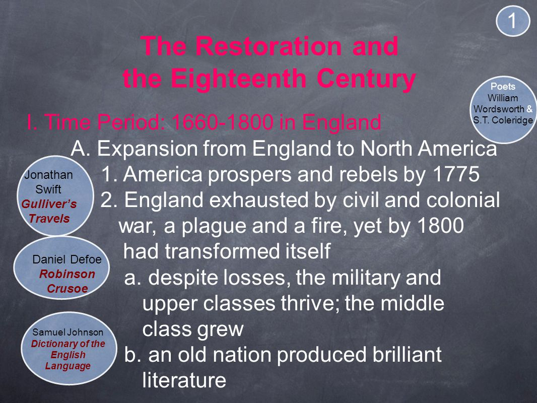The Restoration and the Eighteenth Century I.Time Period: 1660-1800 in England A.