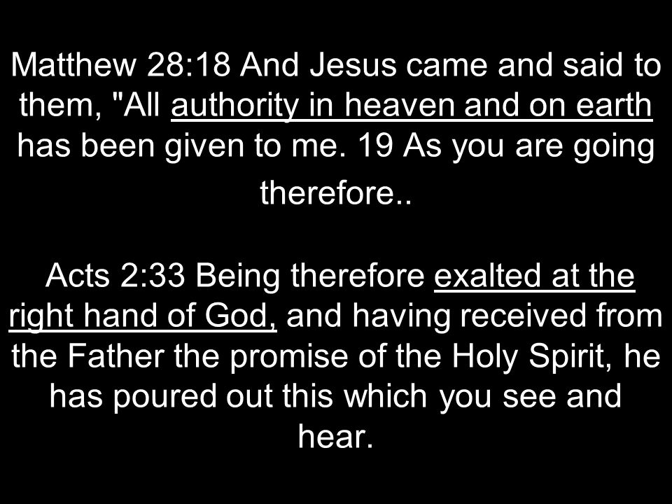 Matthew 28:18 And Jesus came and said to them, All authority in heaven and on earth has been given to me.