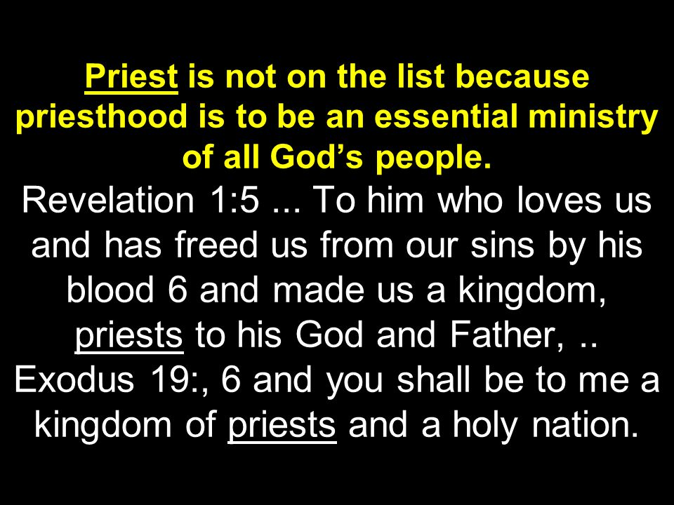 Priest is not on the list because priesthood is to be an essential ministry of all God's people.