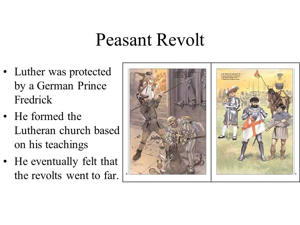 Peasant Revolt Luther was protected by a German Prince Fredrick He formed the Lutheran church based on his teachings He eventually felt that the revolts went to far.