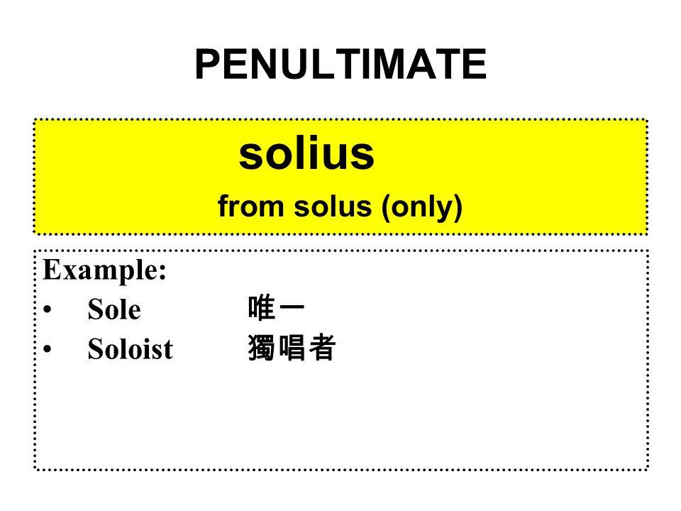 PENULTIMATE dierum from dies (day) Example: Diary 日記 Carpe diem! 「把握今天!」