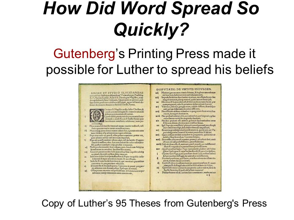 Martin Luther's Actions Luther posted his 95 Theses on the door of the castle church in Wittenberg, Germany on October 31, 1517 His intent was to refo