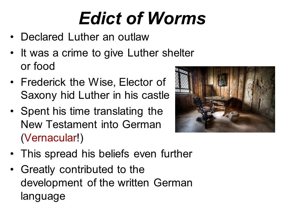 The Diet of Worms - April 1521 Holy Roman Emperor, Charles V, summoned Luther to a diet in the city of Worms –Diet = assembly or meeting of German pri