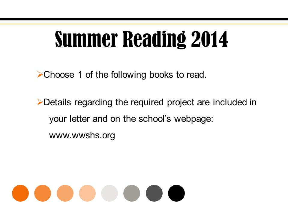 Summer Reading 2014  Choose 1 of the following books to read.  Details regarding the required project are included in your letter and on the school'