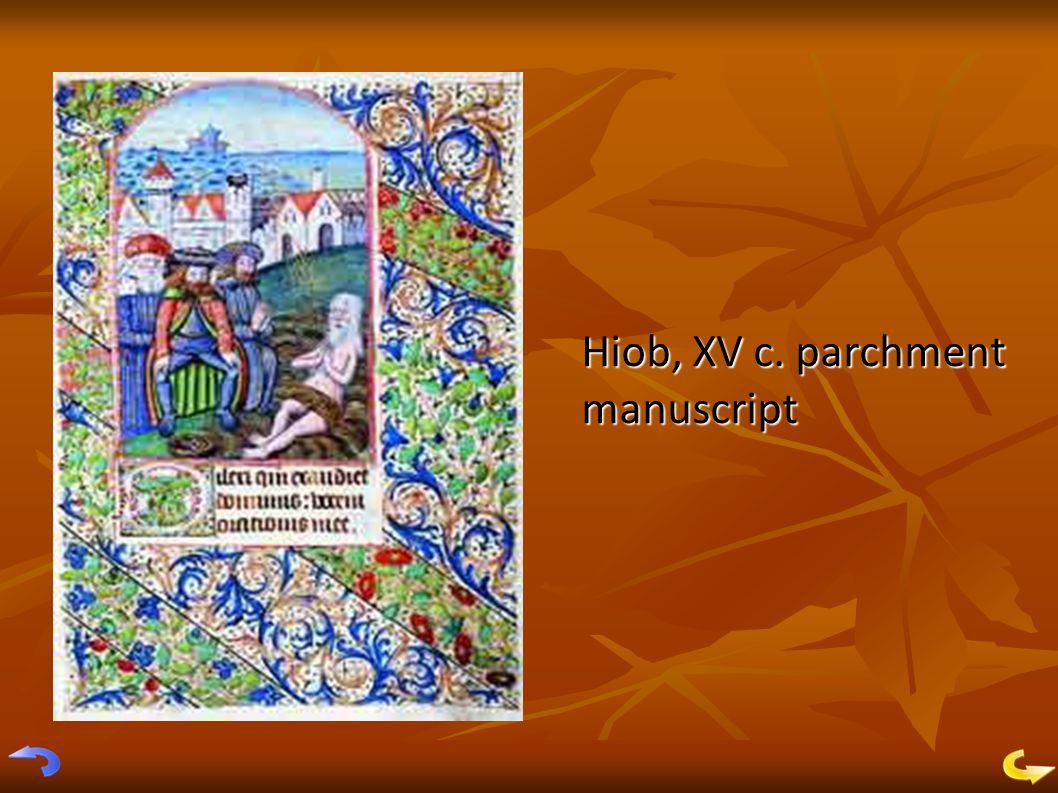 Hiob, XV c. parchment manuscript