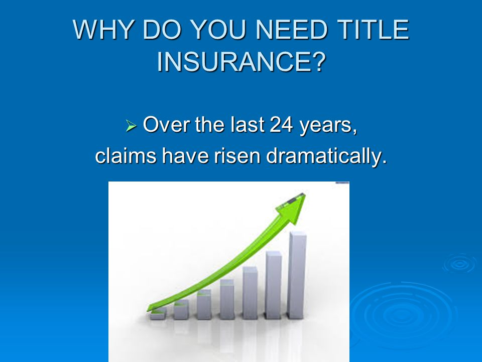 WHY DO YOU NEED TITLE INSURANCE?  Over the last 24 years, claims have risen dramatically.