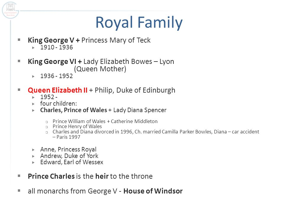 Royal Family  King George V + Princess Mary of Teck  1910 - 1936  King George VI + Lady Elizabeth Bowes – Lyon (Queen Mother)  1936 - 1952  Queen Elizabeth II + Philip, Duke of Edinburgh  1952 -  four children:  Charles, Prince of Wales + Lady Diana Spencer  Prince William of Wales + Catherine Middleton  Prince Henry of Wales  Charles and Diana divorced in 1996, Ch.