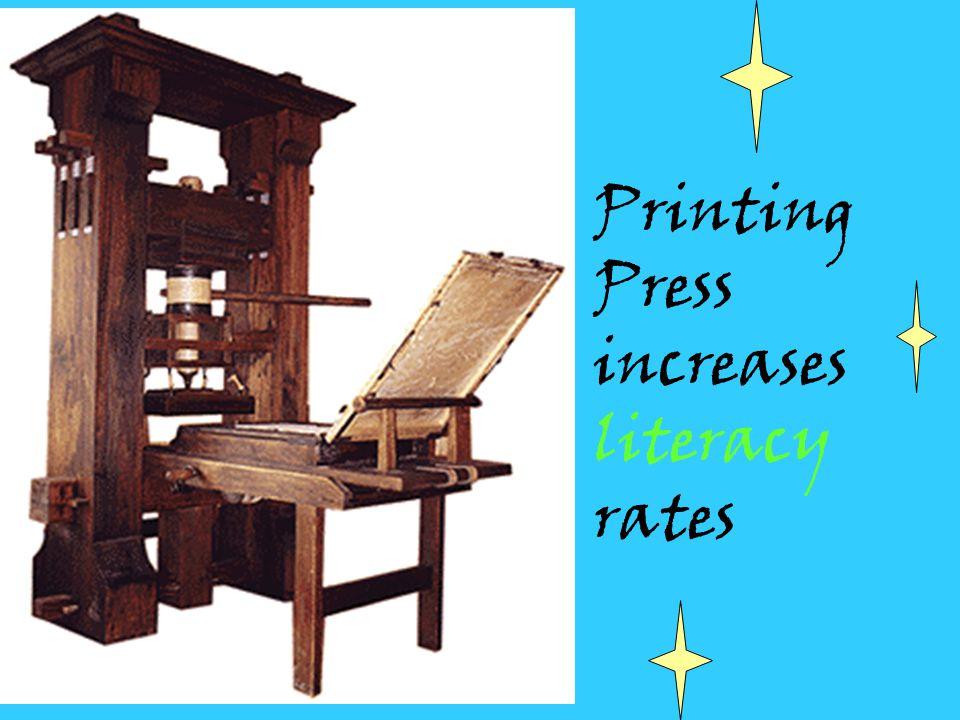 Printing Press increases literacy rates