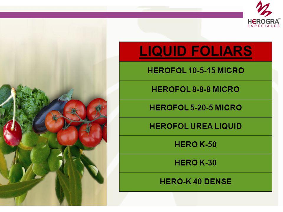 SOLID FOLIARS HEROFOL EXTRA 10+5+38+2MgO+1B+Micro HEROFOL EXTRA 12-5-40+MICRO HEROFOL 20-20-20+MICRO HEROFOL EXTRA 27-16-12+2MgO+MICRO HEROFOL 15-30-1