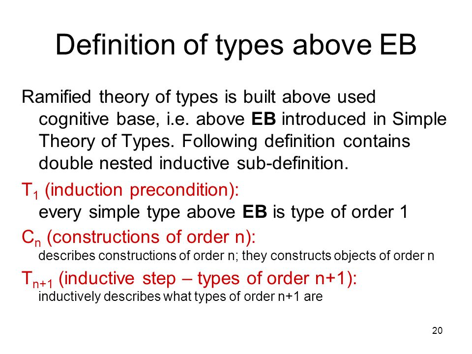 20 Definition of types above EB Ramified theory of types is built above used cognitive base, i.e.