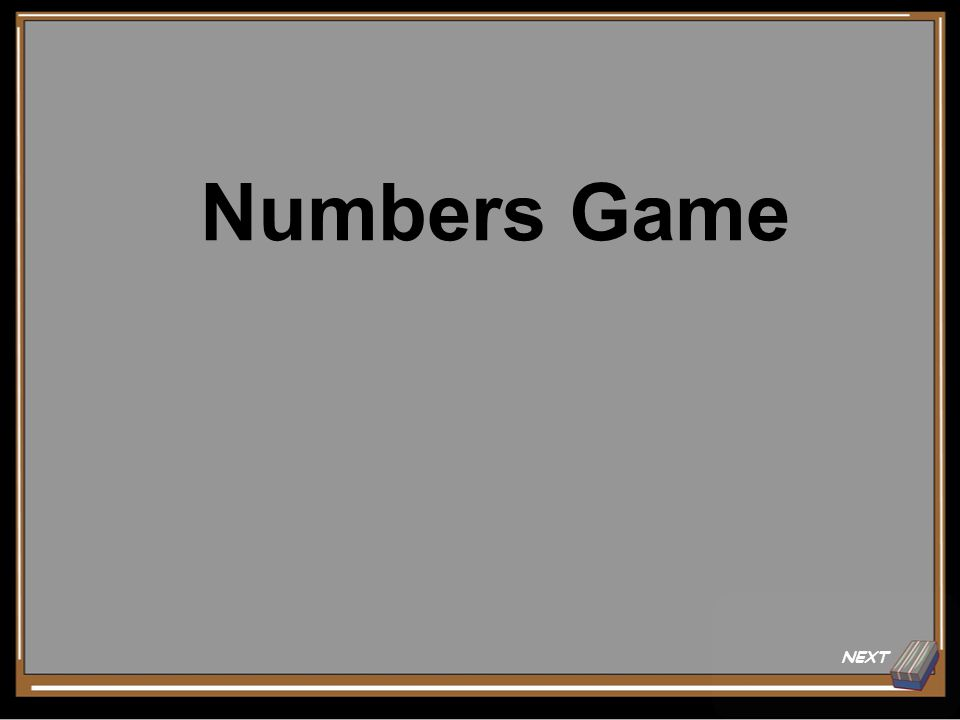 NEXT Numbers Game