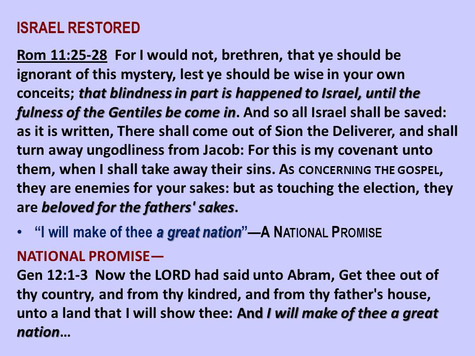 ISRAEL RESTORED that blindness in part is happened to Israel, until the fulness of the Gentiles be come in beloved for the fathers' sakes Rom 11:25-28