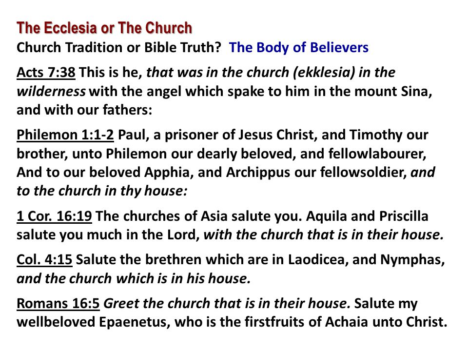 The Ecclesia or The Church Church Tradition or Bible Truth? The Body of Believers Acts 7:38 This is he, that was in the church (ekklesia) in the wilde