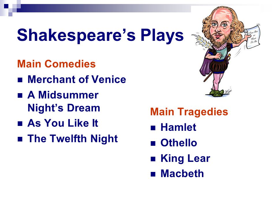Shakespeare's Plays Main Tragedies Hamlet Othello King Lear Macbeth Main Comedies Merchant of Venice A Midsummer Night's Dream As You Like It The Twelfth Night