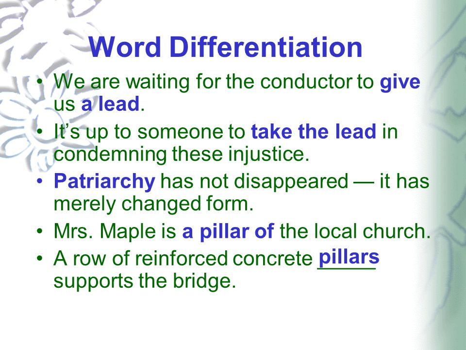 Word Differentiation We are waiting for the conductor to give us a lead.