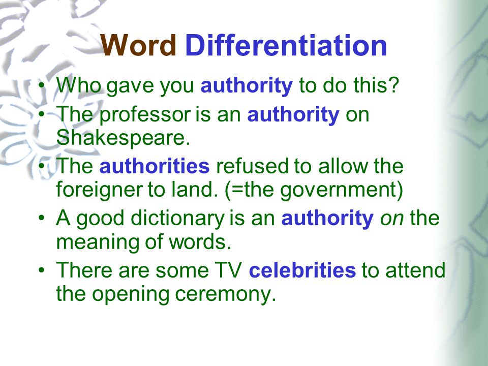 Word Differentiation Who gave you authority to do this.