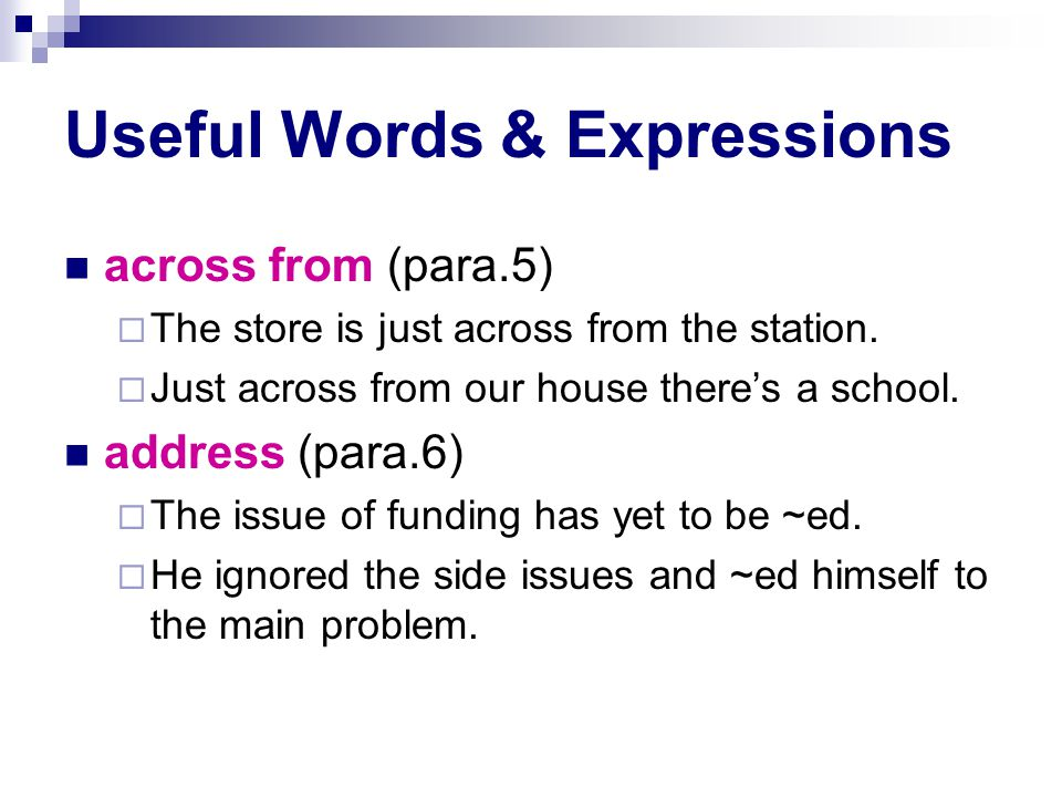 Useful Words & Expressions across from (para.5)  The store is just across from the station.
