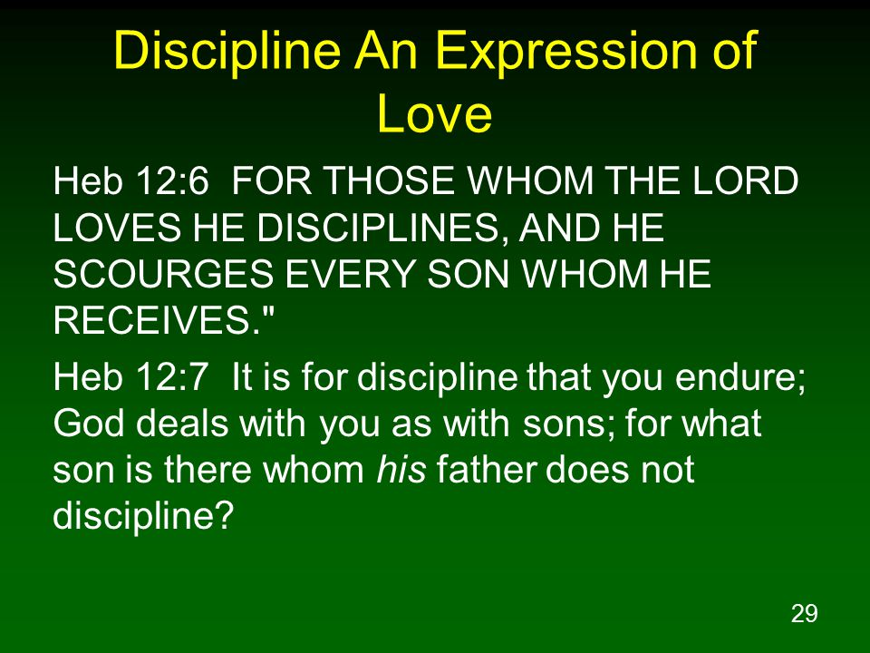 29 Discipline An Expression of Love Heb 12:6 FOR THOSE WHOM THE LORD LOVES HE DISCIPLINES, AND HE SCOURGES EVERY SON WHOM HE RECEIVES. Heb 12:7 It is for discipline that you endure; God deals with you as with sons; for what son is there whom his father does not discipline