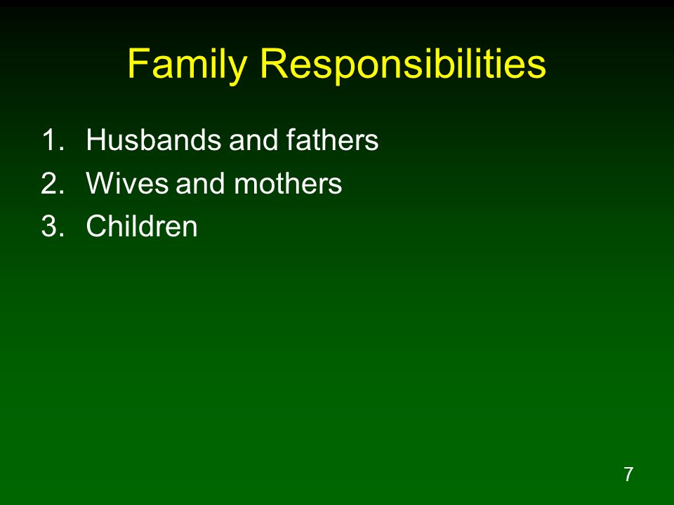 8 Loving Head of His Wife Husband's headship based on Divine authority Husband is not above Divine authority Headship implies assuming responsibility for leading family not being an irresponsible dictator Husbands that do not exercise loving headship are disobeying God