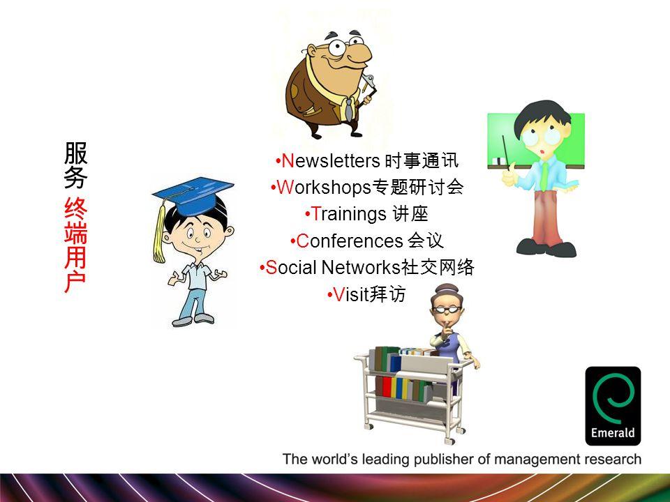 Newsletters 时事通讯 Workshops 专题研讨会 Trainings 讲座 Conferences 会议 Social Networks 社交网络 Visit 拜访