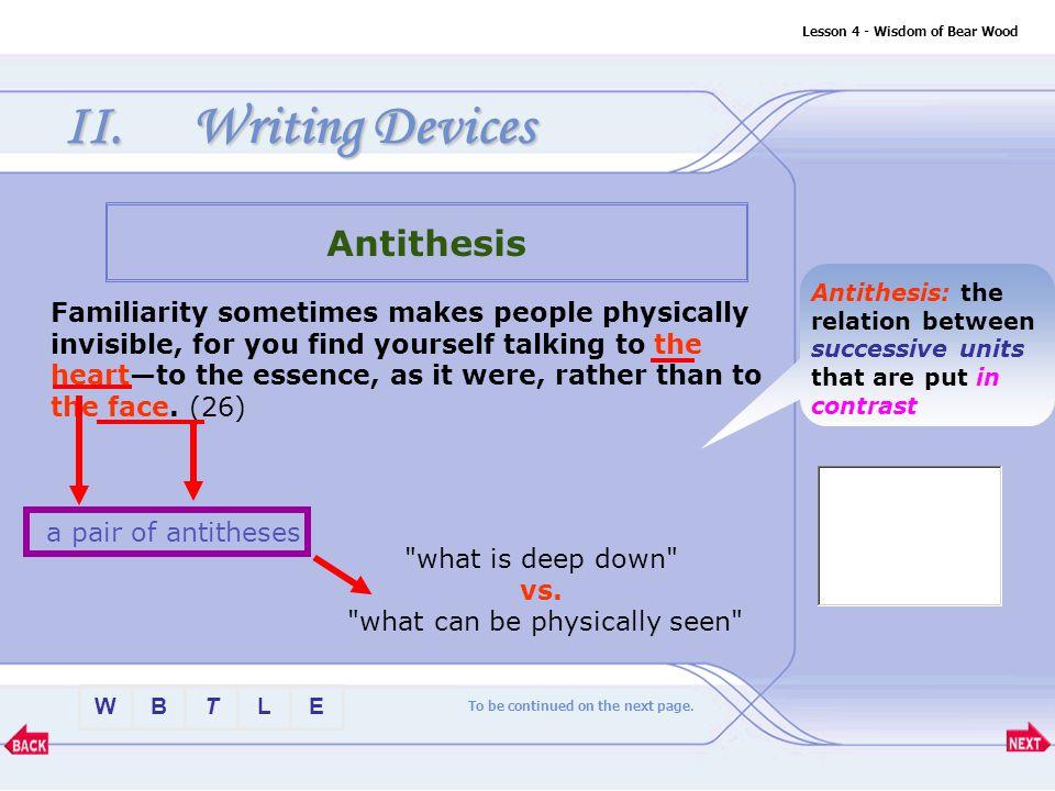 BTLEW Lesson 4 - Wisdom of Bear Wood II.Writing Devices Homonyms 9.