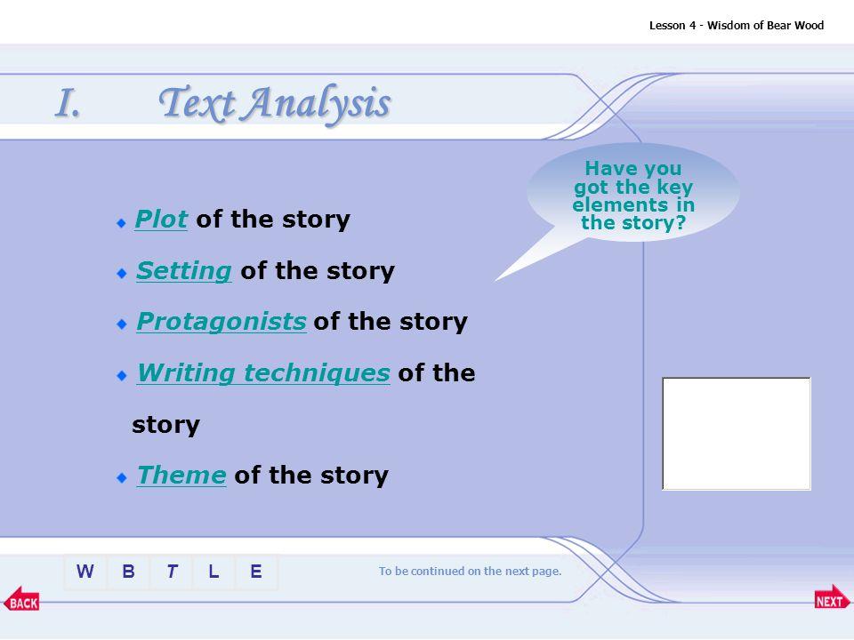 BTLEW Text Appreciation Lesson 4 - Wisdom of Bear Wood I.Text Analysis 1.