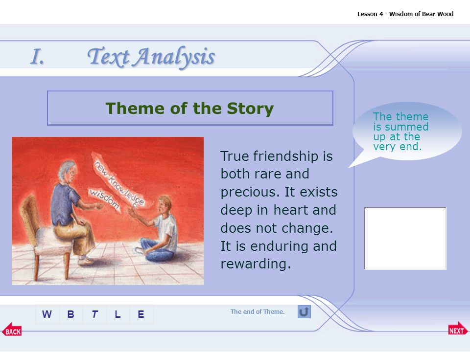 BTLEW Lesson 4 - Wisdom of Bear Wood I.Text Analysis Image study Question: Why does the image of the biscuit tin reoccur so many times in the last part of the story.