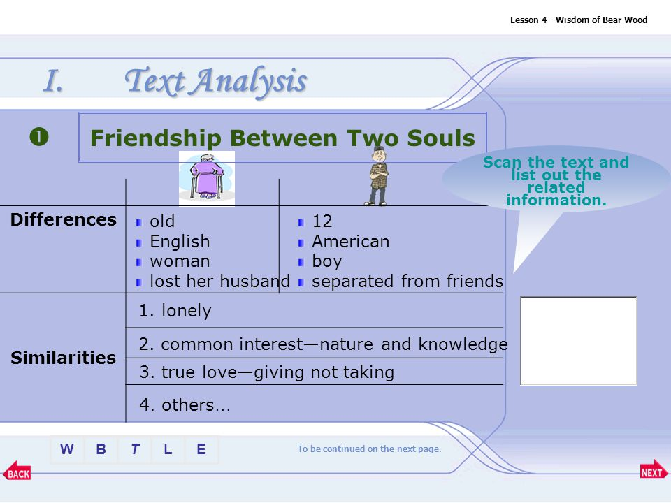 BTLEW Lesson 4 - Wisdom of Bear Wood I.Text Analysis Differences Similarities Friendship Between Two Souls old English woman lost her husband 12 American boy separated from friends 1.