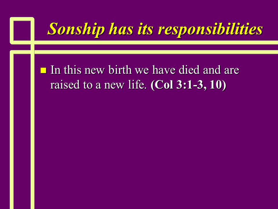 Sonship has its responsibilities n In this new birth we have died and are raised to a new life.