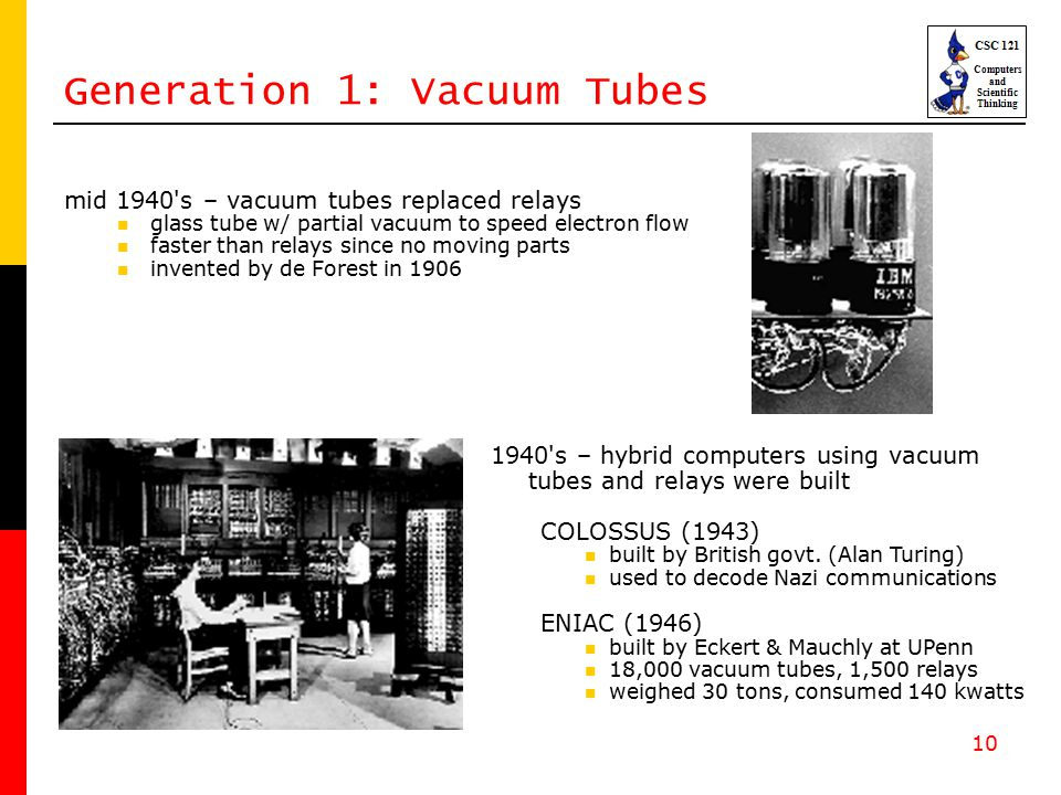 10 Generation 1: Vacuum Tubes mid 1940 s – vacuum tubes replaced relays glass tube w/ partial vacuum to speed electron flow faster than relays since no moving parts invented by de Forest in 1906 1940 s – hybrid computers using vacuum tubes and relays were built COLOSSUS (1943) built by British govt.