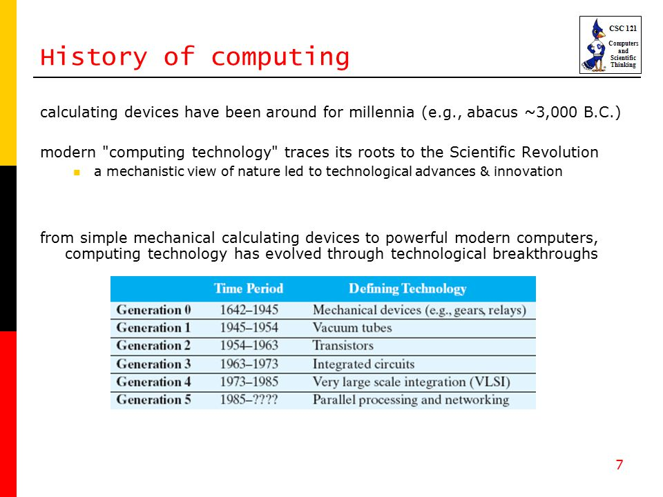 7 History of computing calculating devices have been around for millennia (e.g., abacus ~3,000 B.C.) modern computing technology traces its roots to the Scientific Revolution a mechanistic view of nature led to technological advances & innovation from simple mechanical calculating devices to powerful modern computers, computing technology has evolved through technological breakthroughs