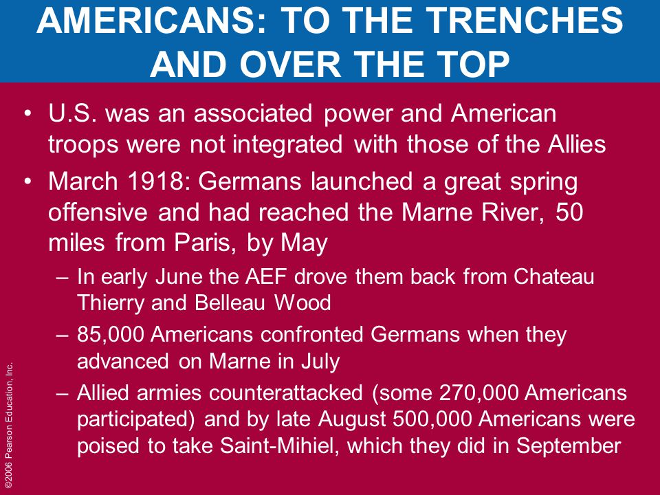 AMERICANS: TO THE TRENCHES AND OVER THE TOP U.S.