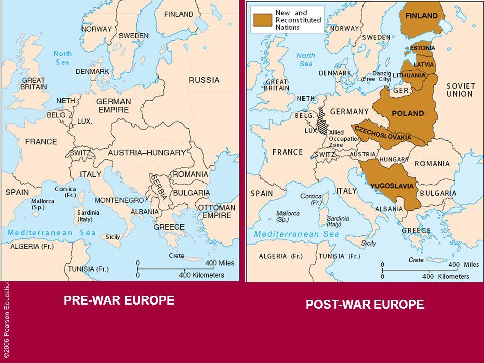 ©2006 Pearson Education, Inc. PRE-WAR EUROPE POST-WAR EUROPE
