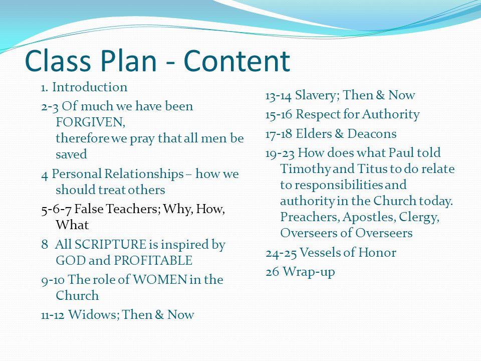 Class Plan - Content 1.