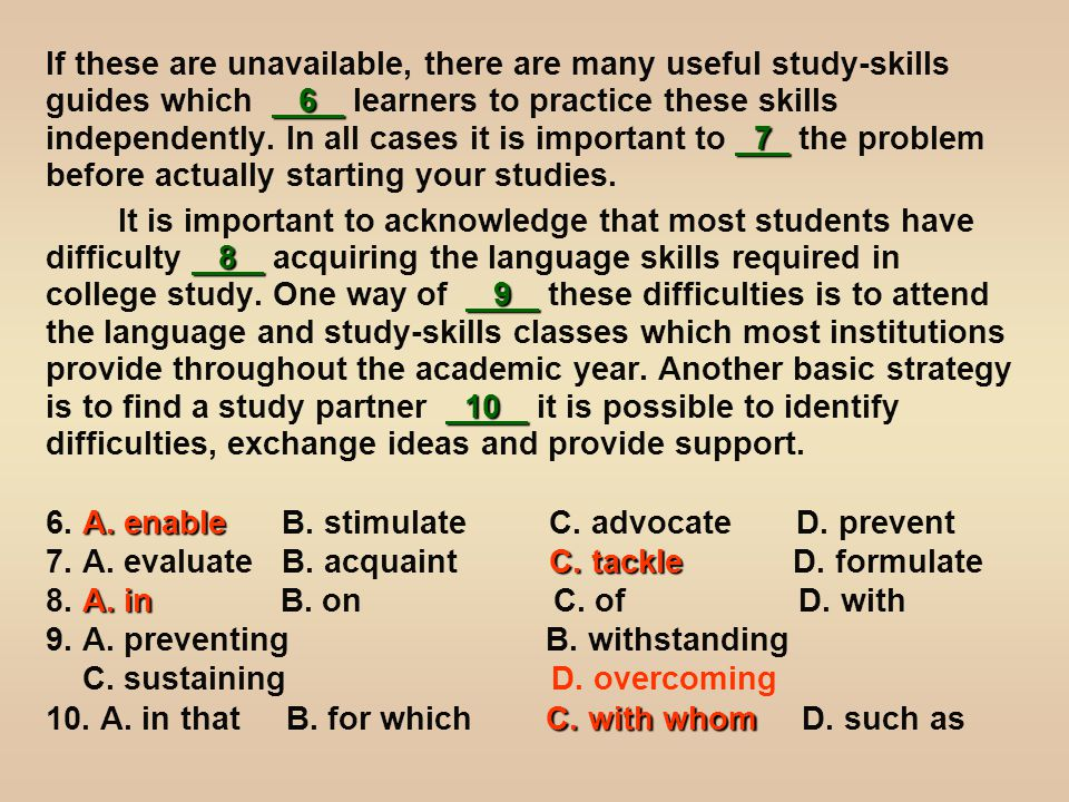 6 7 If these are unavailable, there are many useful study-skills guides which 6 learners to practice these skills independently.