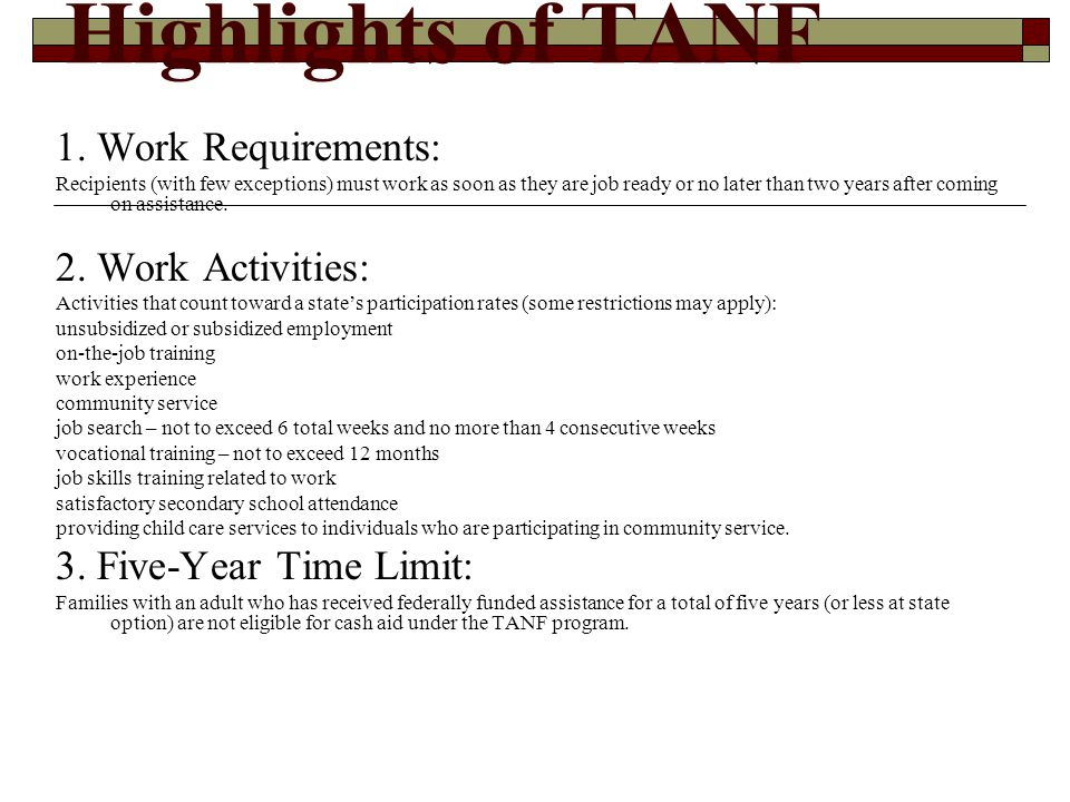 Highlights of TANF 4.