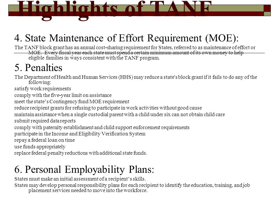 Highlights of TANF 7.